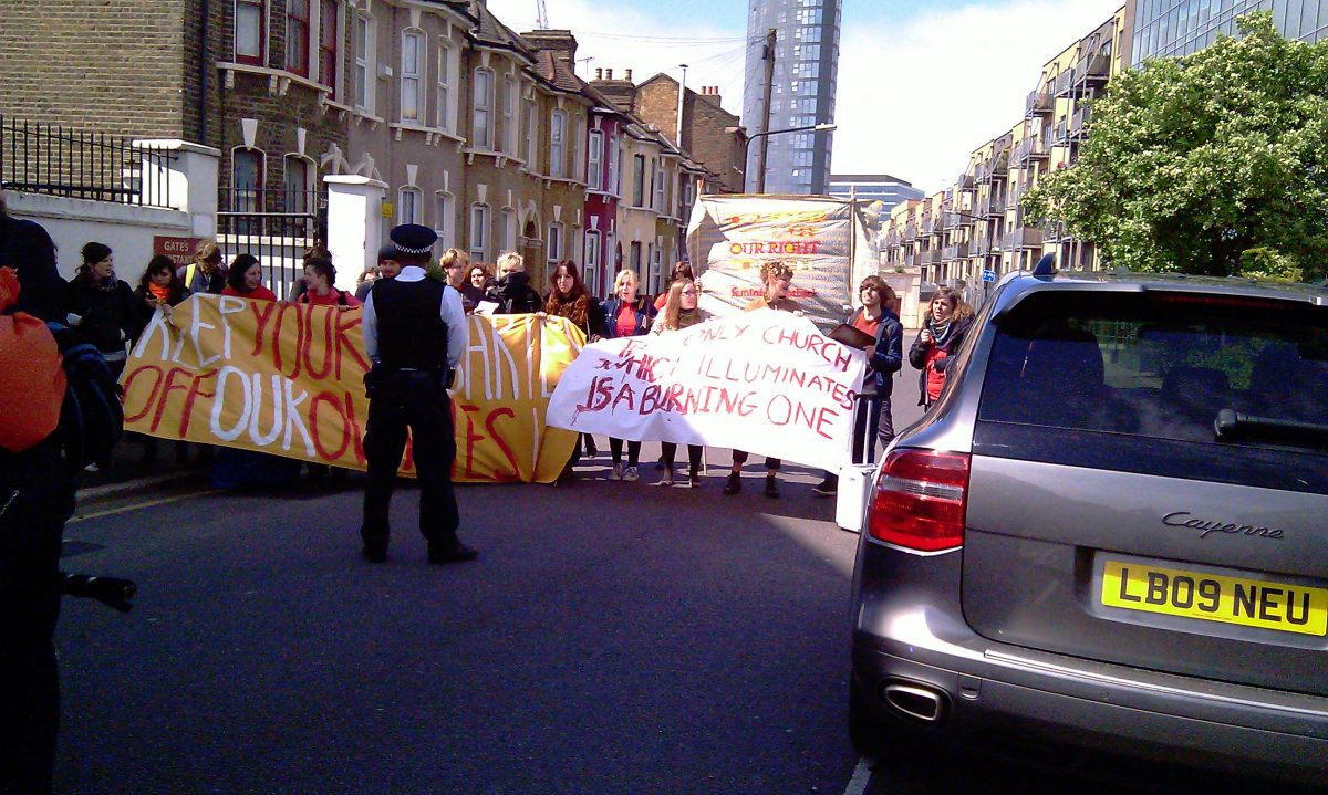 Rosary March Barracked By Pro Abortionists Stratford London E15 09-05-2015